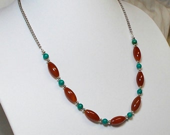 Red Carnelian Stone With Turquoise Stone And Silver Bead Accent Necklace
