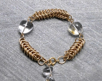 Chainmaille Bracelet, Gold Filled ,Quartz Beads, Chunky , Impressive, Statement, Antique Style