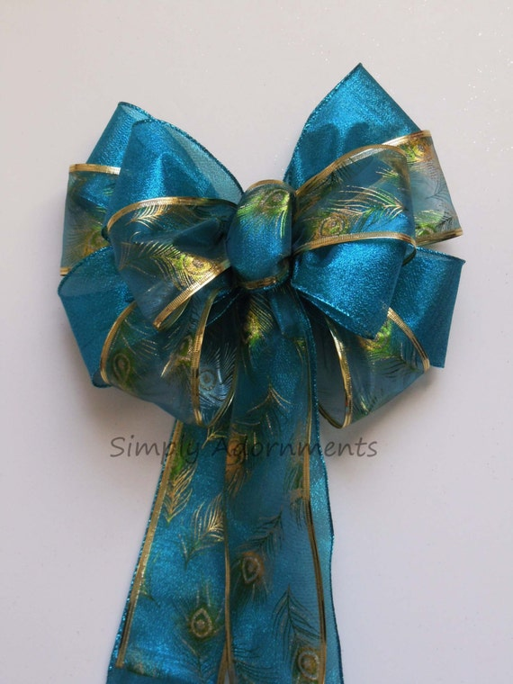 Turquoise Peacock Bow Peacock Wedding Pew Bow Peacock teal Wedding Church Pew Bow Blue Peacock Party Decor Bow Peacock Chair Bow Gifts Bow