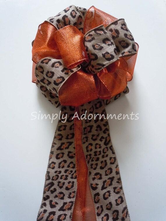 Burlap Leopard Wedding Bow Brown Copper Leopard Wreath Bow Fall Animal Theme Wedding Bow Fall Leopard Wedding Bow