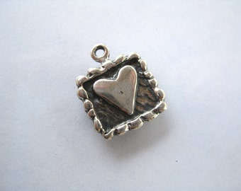 Sterling Silver 925 Artisan style heart charm oxidized finish--11mm x 14mm-- boho chic  Made in the USA charm bracelets