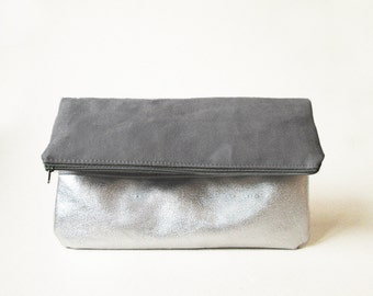 Metallic fold over Clutch, Slate grey Silver, Vegan Leather Evening bag