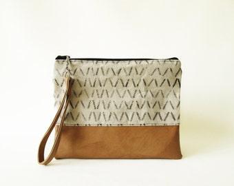 Geometric Clutch purse, Pouch, Wristlet, Canvas, Vegan Leather