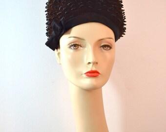 1960s Vintage Mercedes Fashions Beaded Velvet and Satin Bouffant Bubble Hat