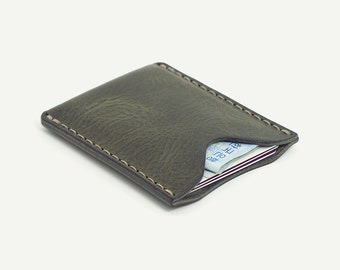 1-Pocket Card Wallet. Gray oil pull-up; Italian vegetable tanned cowhide.