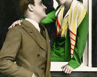 2 Vintage Hand Colored 20s German Romantic Bromide Photograph Postcards