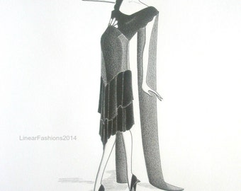 Original fashion illustration - Art Deco