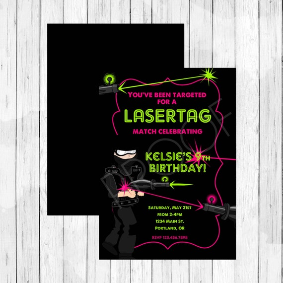 Boy Vs Girl Games Party : Boys Vs Girls Twin Lasertag Invitation - Laser Tag Party Invitation ...