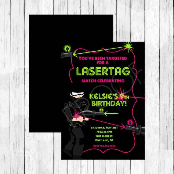 Boys Vs Girls Twin Lasertag Invitation - Laser Tag Party Invitation ...