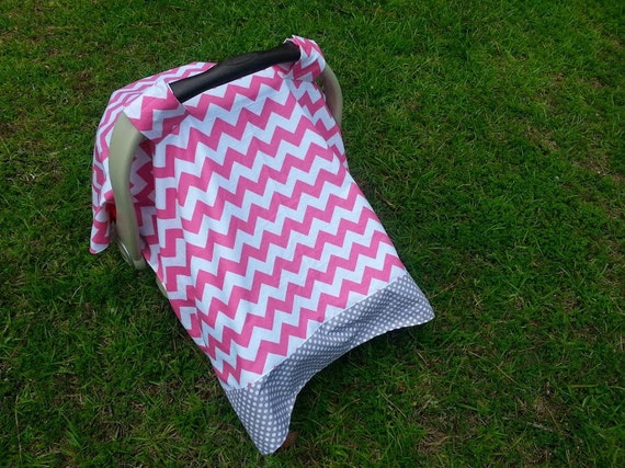 Car Seat Cover In Pink Chevron And Small Gray And White Polka