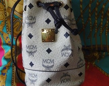 Vintage MCM white and navy monogram small hobo bucket bag. So chic and cute. Great vintage gift.