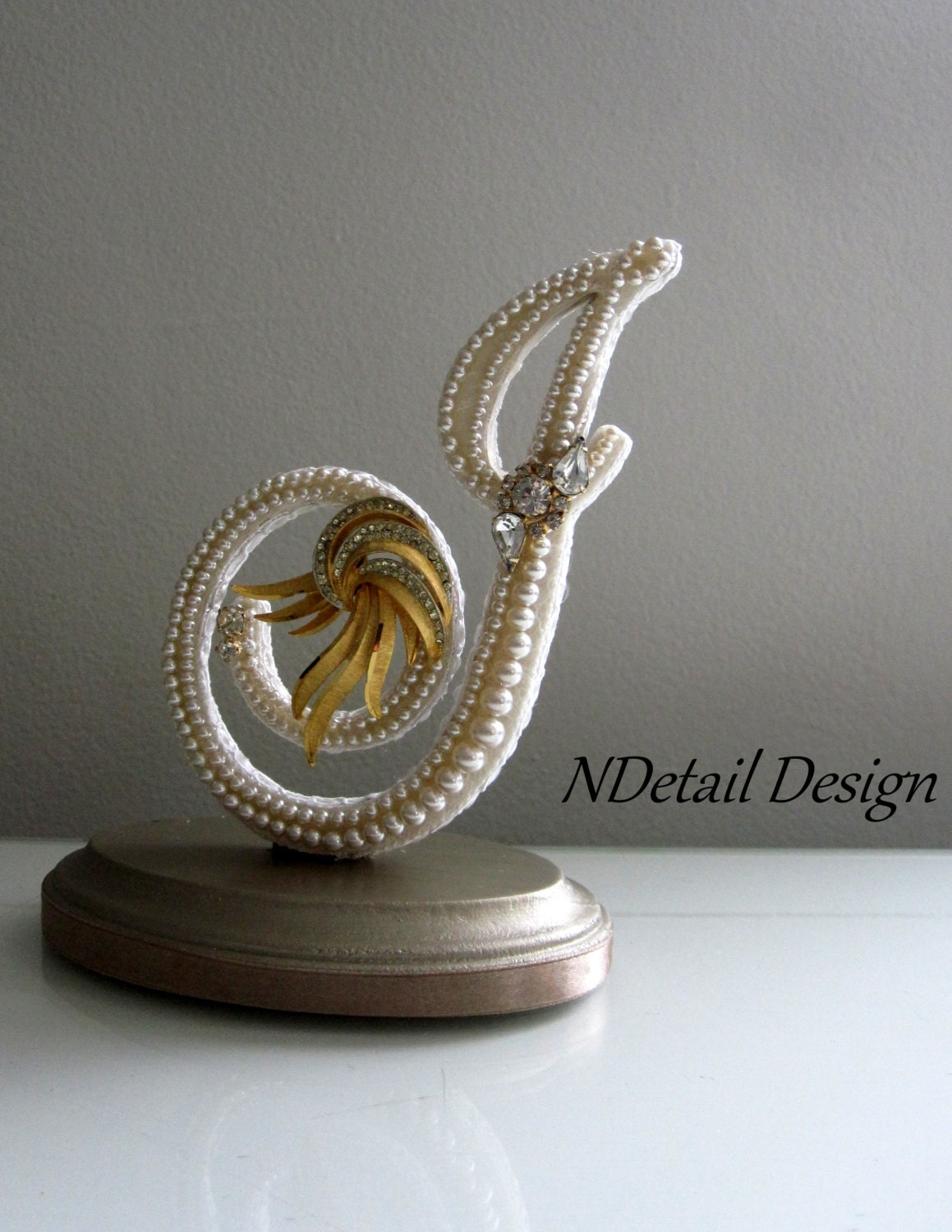Wedding Cake Topper Monogram Keepsake Custom by NDetailDesign