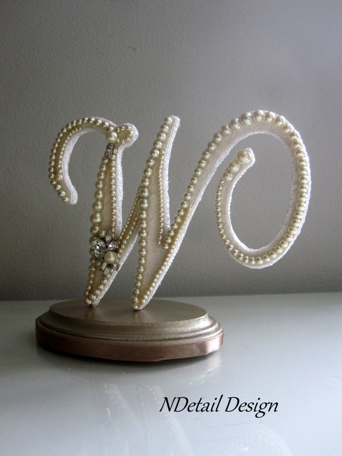 Wedding Cake Topper & Keepsake Monogram Letter W Vintage Ivory
