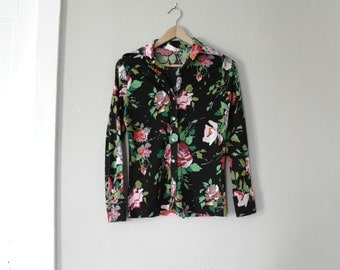 Vintage 70s Floral Blouse – Womens Blouse – 1970s Fashion – Soft Polyester – Lee Mar – Small