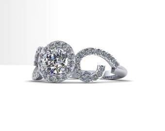 Curve Engagment Ring with Halo 14K Gold with Half Carat Diamond