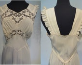 1940's Glamorous Ivory Silk Bias-Cut Nightgown w/ EXQUISITE Embroidery, Crochet and Silk Applique