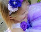 Purple flower headband, Purple flower girl headband, Baby girl headband, headband photo props