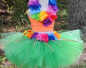 Luau Tutu Set, Luau Birthday, Hawaiian tutu, Kids Costume