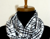 2014 Keepers Plaid scarf - Men Scarf,infinity scarf, Plaid Infinity Scarf Wide Cotton Viscose Printed Squared Circle Scarf in Black White,