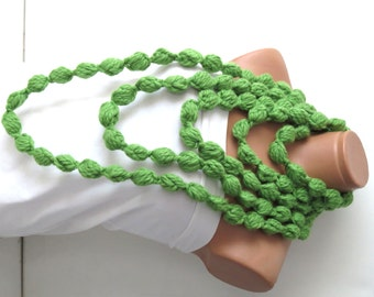 Bubble chain scarf necklace Infinity crochet  green lariat scarf for spring