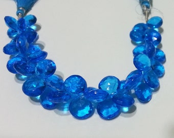 Hawaiian Ocean Blue Apatite Quartz Micro Faceted Briolette Beads 10mm - 12mm
