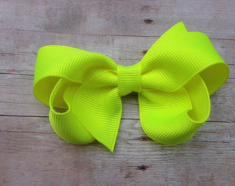 Neon yellow hair bow - yellow bow, toddler bow, 3 inch bow, girls hair bows, baby bows, neon yellow bows, 3 inch hair bows, girls bows