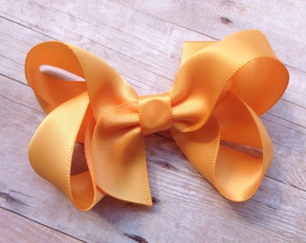 Gold satin hair bow - 3 inch gold bow, boutique bows, satin bows, girls hair bows, toddler bows, girls bows, gold hair bows, hair clips