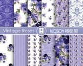 Blue Digital Paper Digital Paper Pack, Rose Scrapbooking, Blue Vintage Roses - INSTANT DOWNLOAD  - 1704