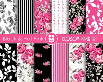 Hot Pink and Black Paper Pack Digital Papers, Scrapbooking, Roses, Floral, Pink, Black - INSTANT DOWNLOAD  - 1786
