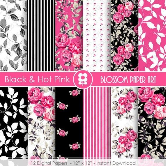 Papeles rosa y negro papeles floreados digitales papeles - Papeles decorativos para imprimir ...