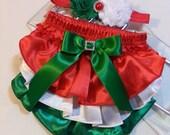 Christmas Diaper Cover/Headband Set, Red Green and White Ruffled Satin Baby Bloomers with Rhinestone Embellishment and Matching Headband