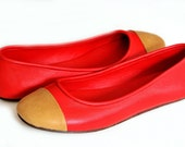 ANN. Red flats / leather flat shoes / red shoes / red leather shoes / ballet flats. Sizes US 4-13. Available in different leather colors.