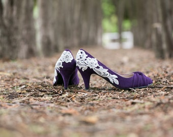 Wedding Shoes - Purple Shoes/Low Purple Heel/Bridal Shoes, Purple Heels with Ivory Lace. US Size 6.5