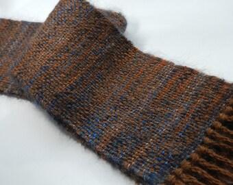 Handwoven alpaca mohair silk scarf brown blue rust tweed