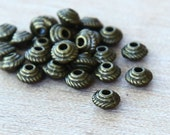 100 Pcs Spacer Beads, Antique Brass, 5mm Saucer - eTS006AB-5x3