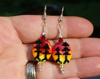 Redwood Trees at Sunset, Handmade Lampwork Moretti Glass Earrings, Black, Orange, Red and Yellow