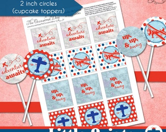 Little Aviator 2 inch Circle Tags • PRINTABLE Birthday Baby Shower • by The Occasional Day