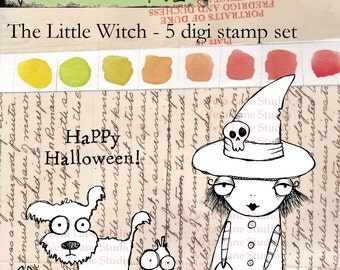 Little whimsical witch digi stamp set with scared pup and quirky crow -- 5 images ready for instant download.