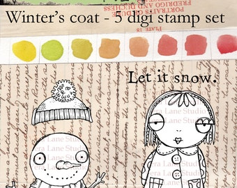 Winter theme digi stamp set; Whimsical girl and snowman - 5 image set available for instant download