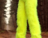 Made to order hand knit fuzzy mohair pants, fluffy trousers in neon yellow by SuperTanya