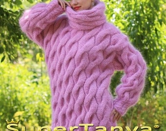 Extra thick pink hand knitted mohair sweater with cables by SuperTanya