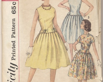 Vintage 1950s Simplicity Pattern 3913 Misses Two-Piece Dress Size 14 Bust 34