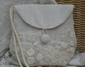Embroidered LInen Bag - hand stitched by Lynwoodcrafts on upcycled linen with hand knitted back