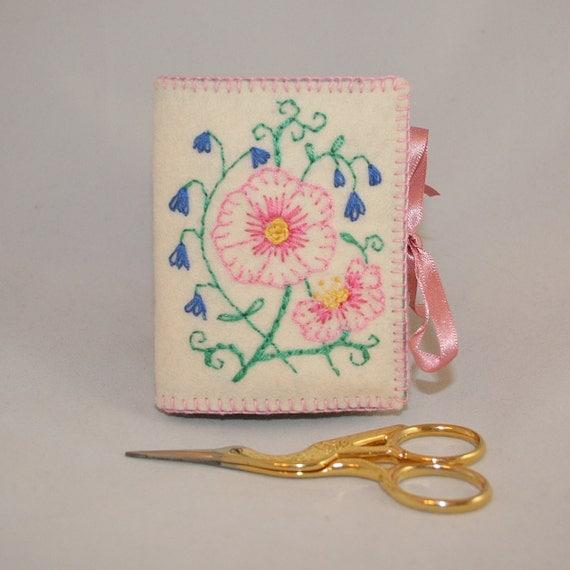 Embroidered felt needle book vintage style flower spray