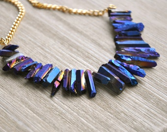 Rainbow Quartz Bib Necklace