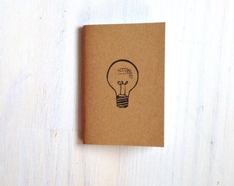 Small Notebook: Lightbulb, Idea Notebook, Humor, Hipster, Cute, Wedding, Kids, For Her, For Him, Brown, Mini Journal, Stamped, Unique, KR197