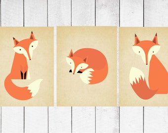 Fox Nursery Decor - 3 Piece set - Fox Print Trio 8x10 INSTANT DOWNLOAD