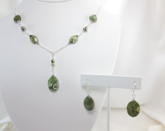 Rain Forest Jasper Oval Necklace & Earrings Set on Sterling Silver or 14k Gold Fill - Bead Jewelry - Beaded Jewelry