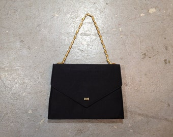 vintage 1950s black satin evening bag. 50s Coblentz purse with tiny bow & gold accents. retro accessory.