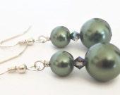 Pearl Dangle Earrings, Dark Green Earrings, Green Earrings, Green Pearl Earrings, Big Pearl Earrings, Olive Green Earrings